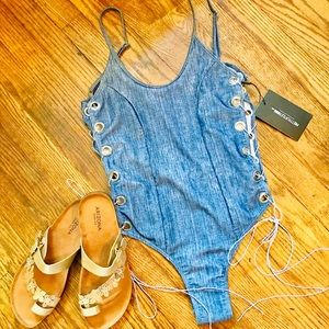 NWT denim look swim wear